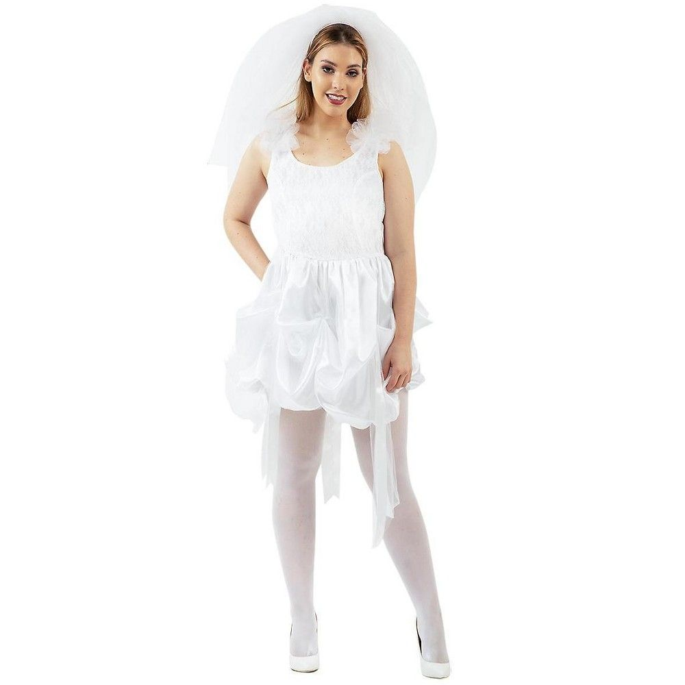 Angels Costumes 80's Bride White Wedding Dress Costume Adult X Large