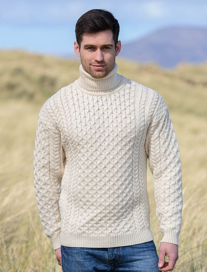 Mens Wool Turtleneck Sweater Natural White Wool Turtleneck