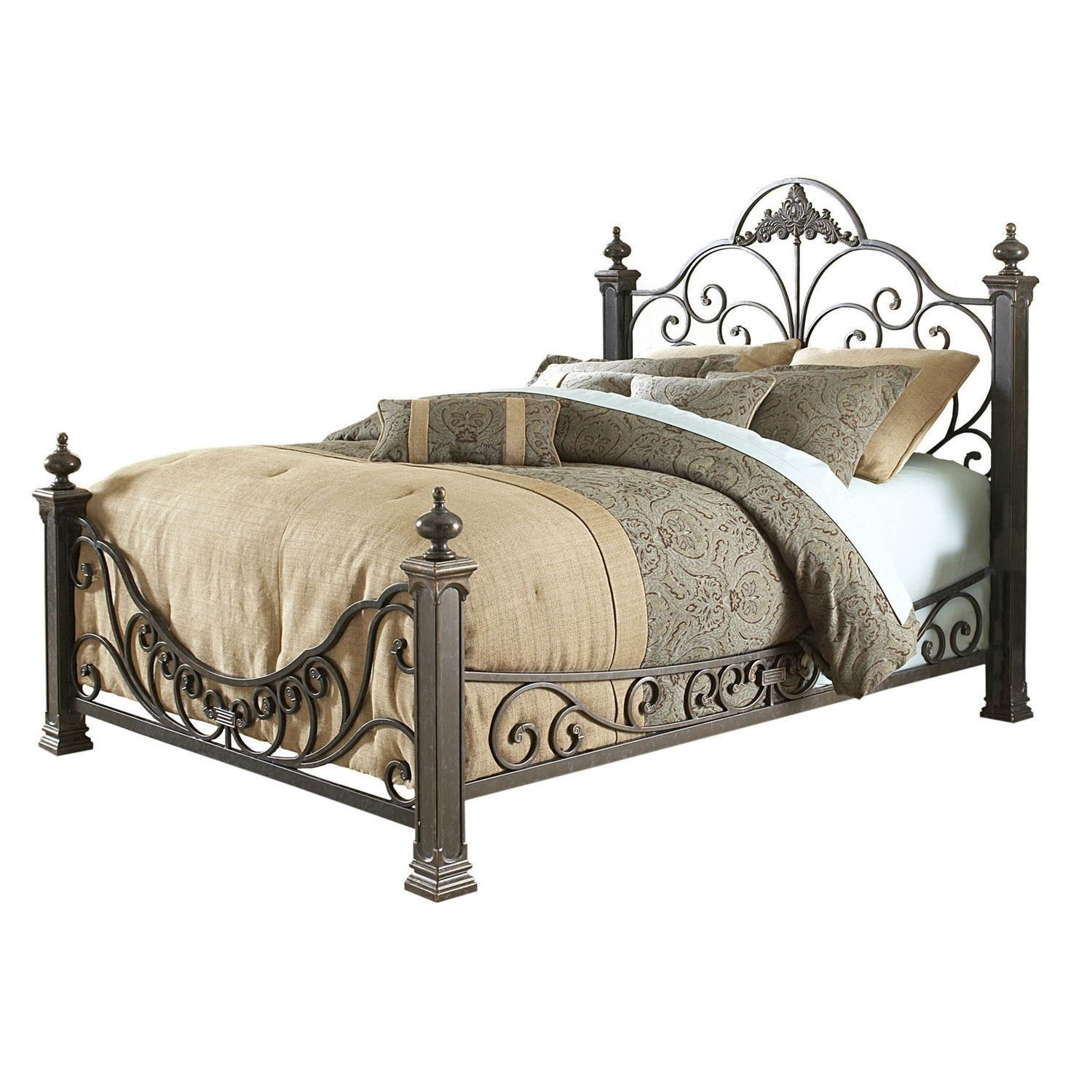 Queen Size Baroque Style Metal Bed with Headboard
