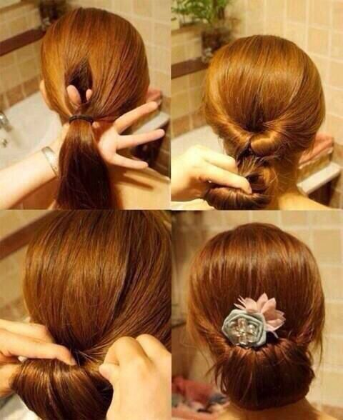 Classy easy hair updo; get a sparkley hair barrette from Charming Charlie's and you're set!