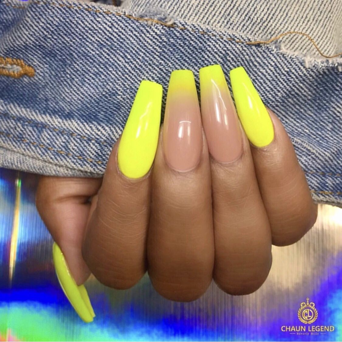 Neon Yellow Ombre Nails Yellow Nails Coffin Nails Designs Neon Nails