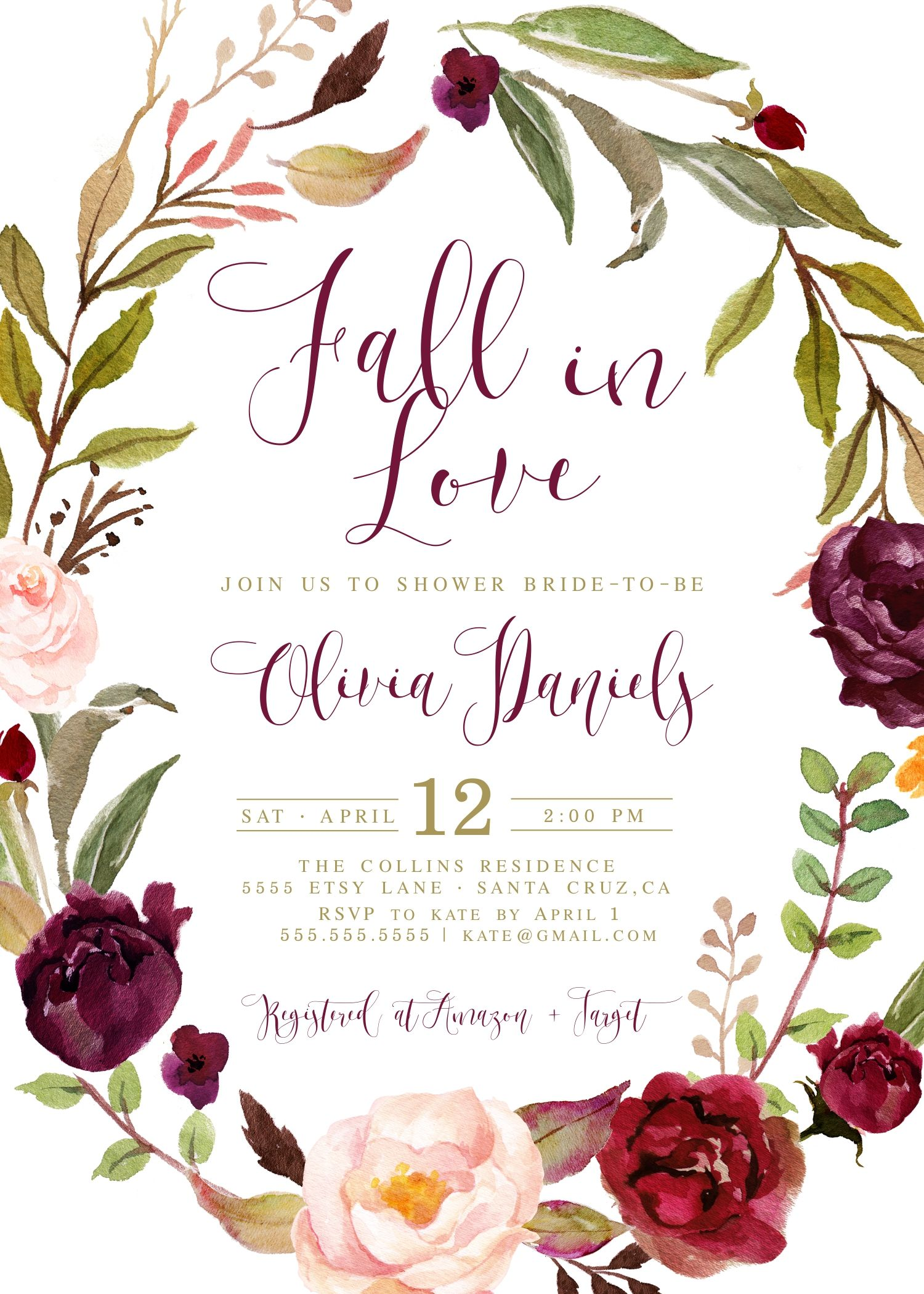 67990666ddd9 FALL in love with this Autumn bridal shower invitatoin