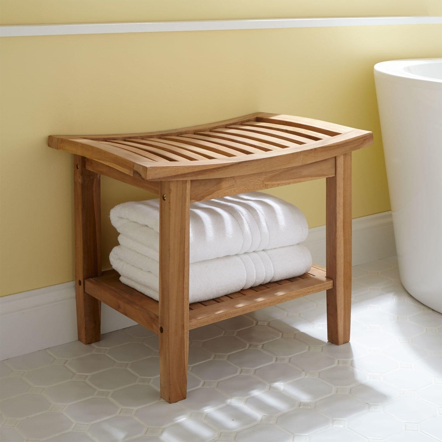 Bathroom : Unpolished Teak Wood Bathroom Stool With Open Shelf Towel ...