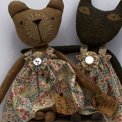 folk art softie cats