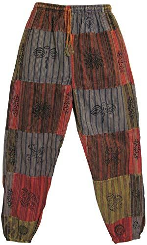 New Mens Stonewashed Cotton Bohemian Vintage Yoga Ethnic Print Patchwork Harem Pants online shopping - Newclothingtrendy