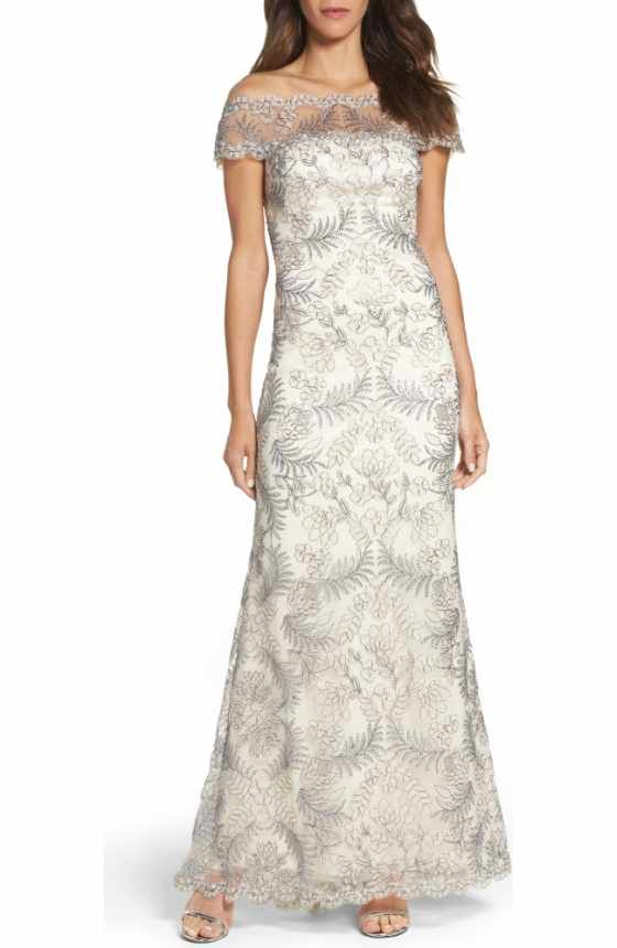 Free shipping and returns on Tadashi Shoji Sequin Lace Gown (Regular ...