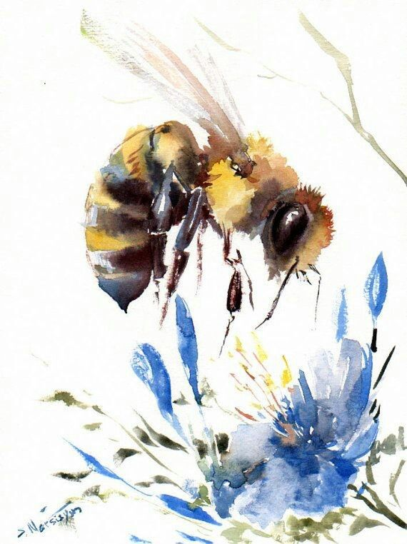 Bee On A Flower Art Bee Art Bee Painting