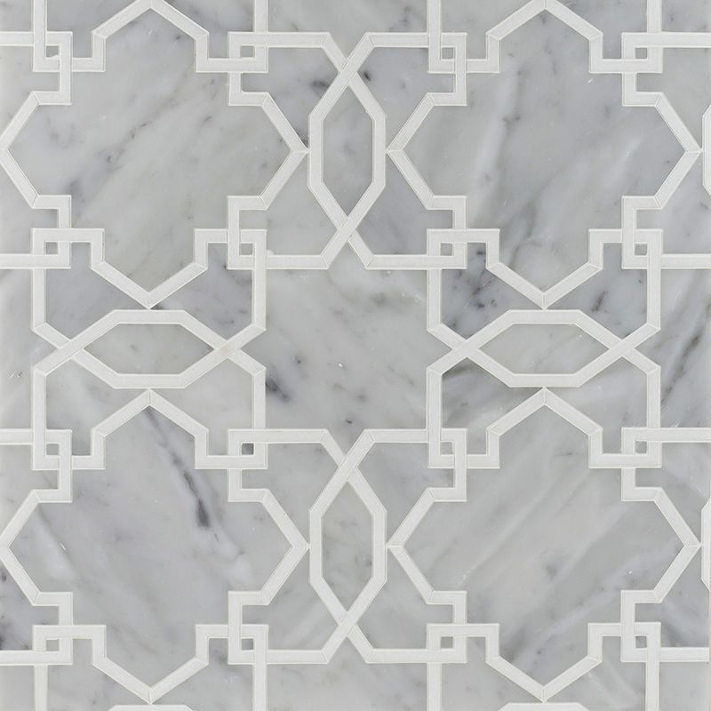 White Carrara Thassos White Multi Finish Tamara Marble Mosaics - Thassos white marble bathroom