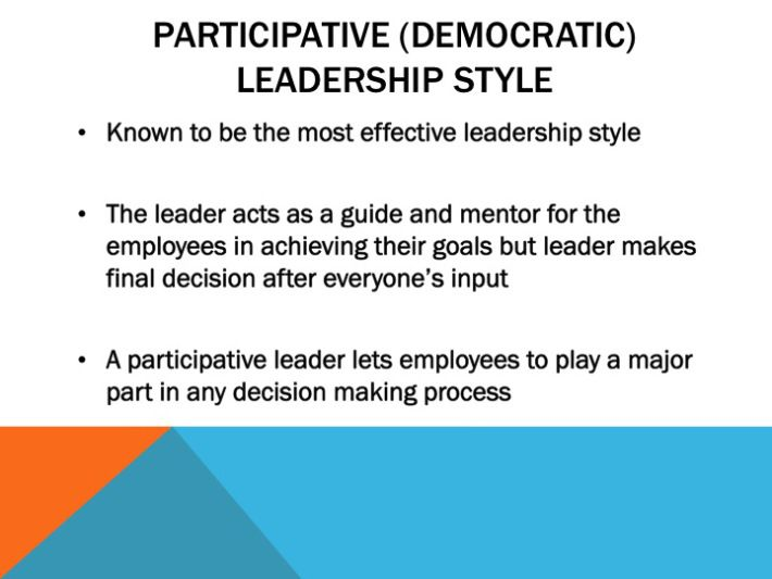 democratic leadership participative leadership style where decisions and activities are shared decision making input is