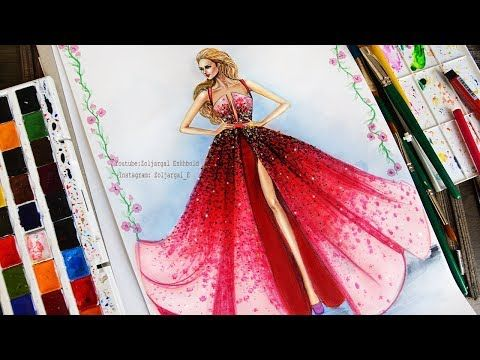 8fbcaae0ab7 Fashion Illustration Painting for Beginners (Easy version) - Ombre Dress -  YouTube