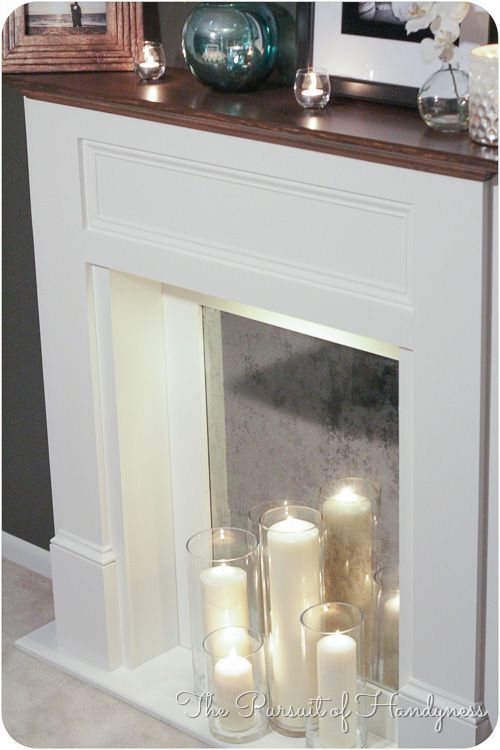 Diy Faux Fireplace Closeup Of The Firebox With A White