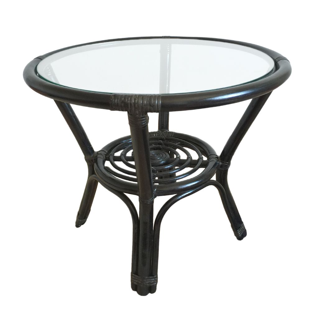 Round Small Coffee Table Diana 21 Color Black With Glass Top Handmade Eco Friendly Materials Rattan Wicker Indoor Furniture Rattan Wicker Indoor Furniture [ 1000 x 1000 Pixel ]