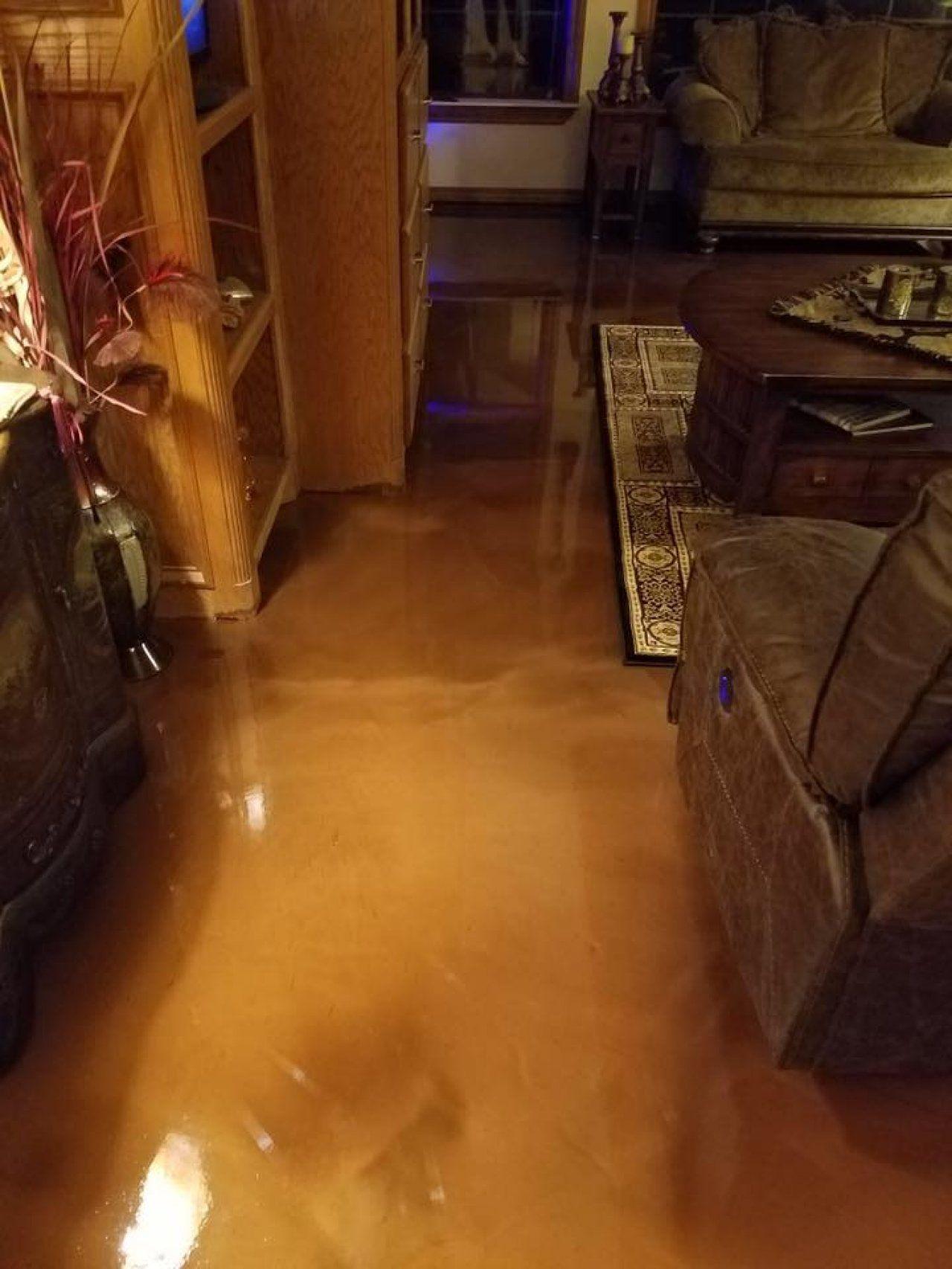 Metallic Marble Epoxy In Living Room In Oklahoma City Oklahoma - Flooring contractors okc
