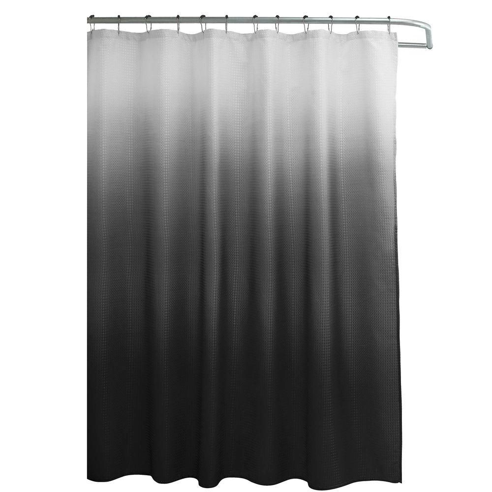 Creative Home Ideas Ombre Waffle Weave 70 In W X 72 In L Shower Curtain With Metal Roller Rings In Dark Gray In 2020 Black Shower Curtains Gray Shower Curtains Red Shower Curtains