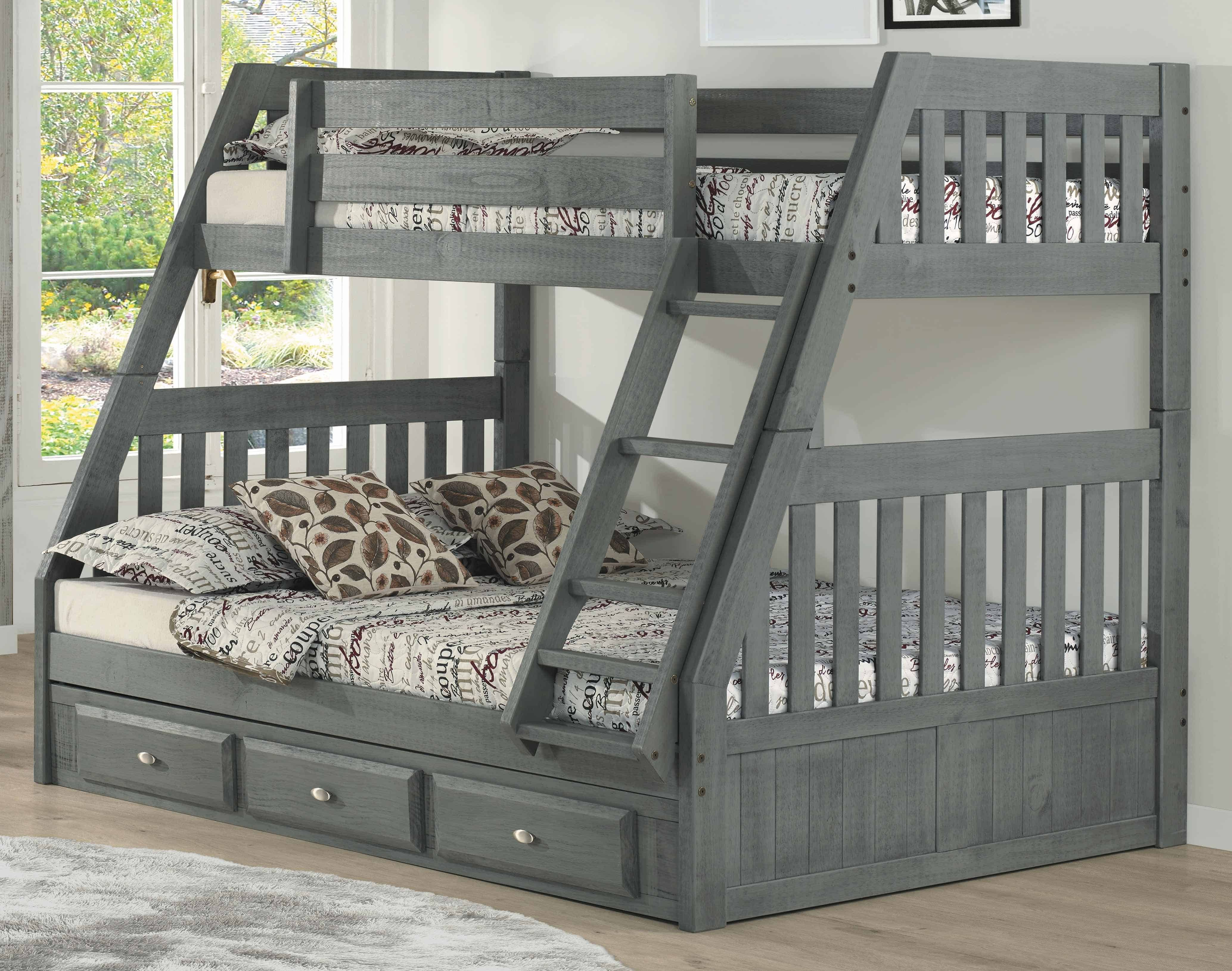 Discovery World Furniture Twin Over Full Charcoal Mission Bunk Bed