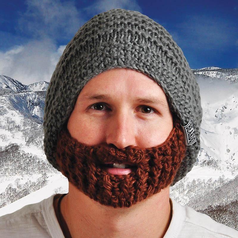 Beardo The Original Beard Hat, Grey Hat with Brown Beard