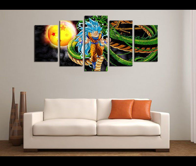 Large Canvas Prints Anime Painting 5 Pieces Art Dragon Ball Z Framed Ready To Hang For Home Decoration Bedroom Livingroom Walls Decor