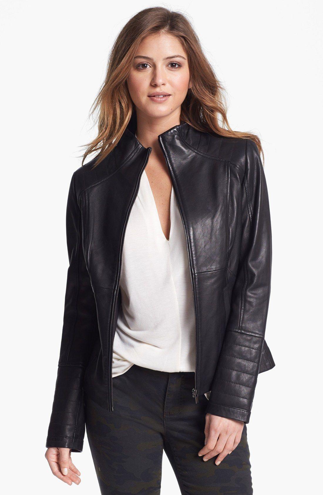 womens casual leather jacket - Google Search | Vegan Biker Jackets ...