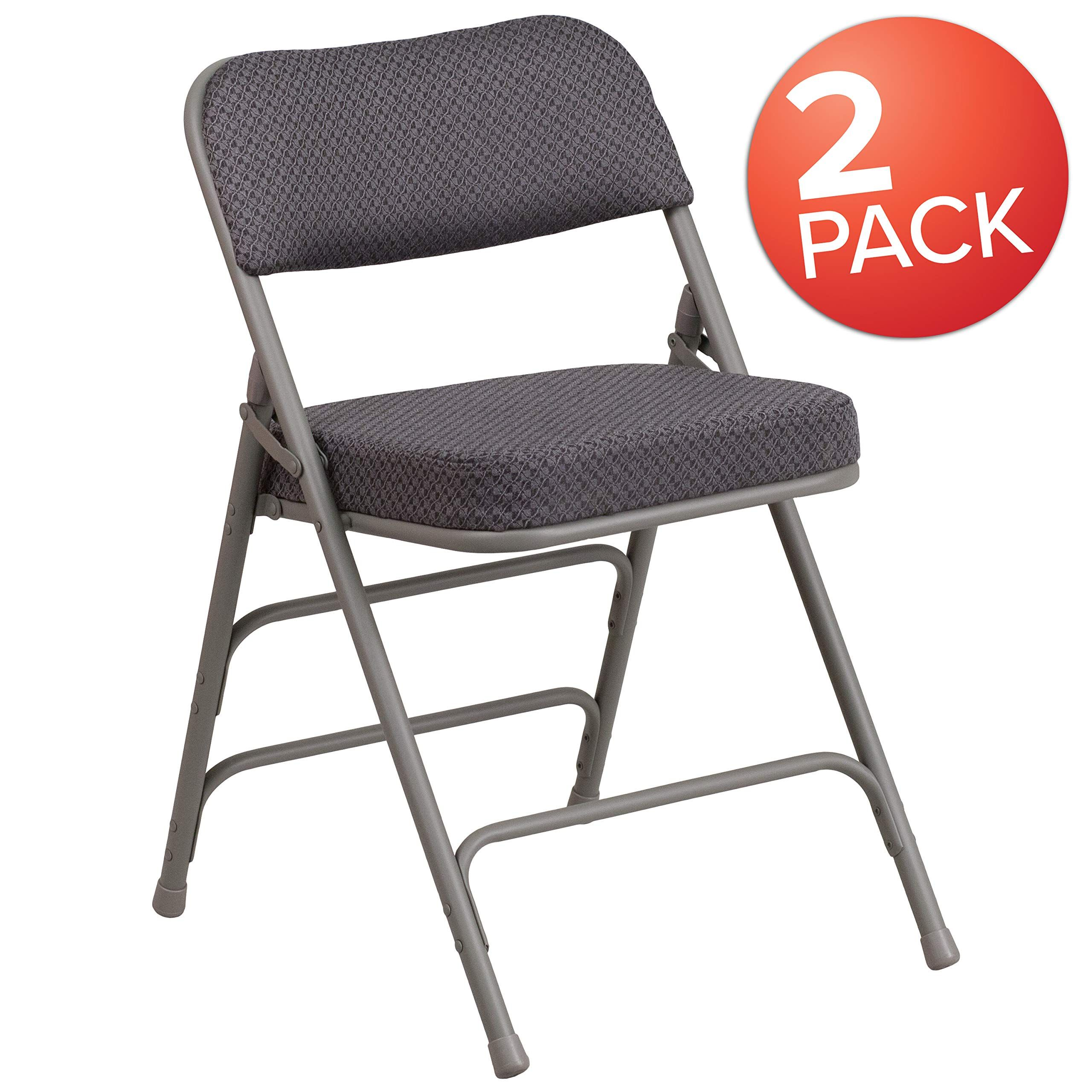 Flash Furniture 2 Pk Hercules Series Premium Curved Triple Braced Amp Double Hinged Gray Fabric Met Metal Folding Chairs Folding Chair Padded Folding Chairs