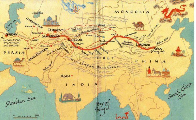 La Route De La Soie Histoire De L Asie Mongolie Carte Geographique