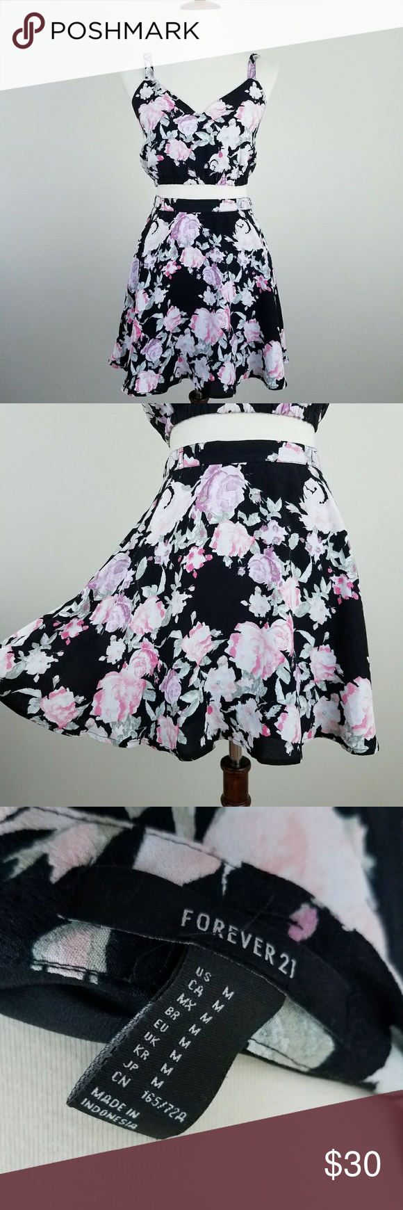 forever 21 floral set crop top  skirt forever 21 two