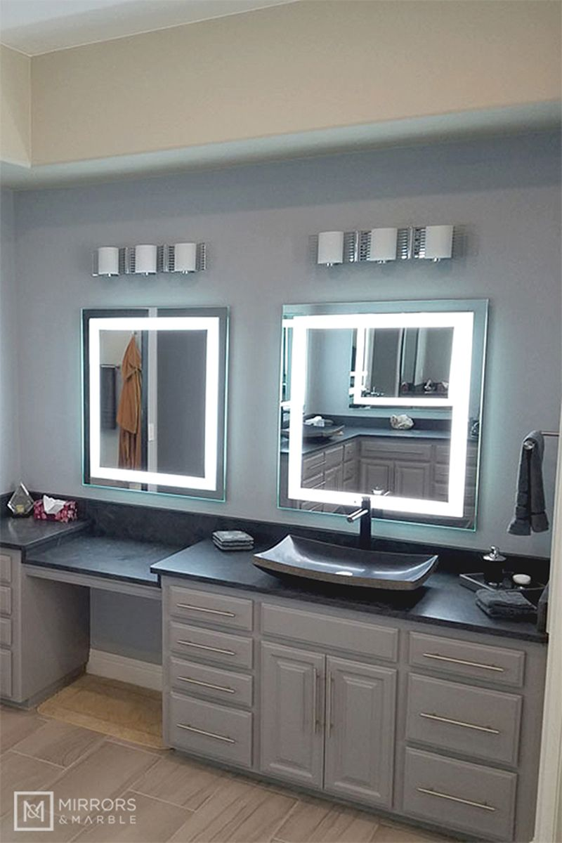Front Lighted Led Bathroom Vanity Mirror 28 Wide X 36 Tall Rectangular Wall Mounted In 2020 Bathroom Vanity Mirror Bathroom Vanity Vanity Mirror