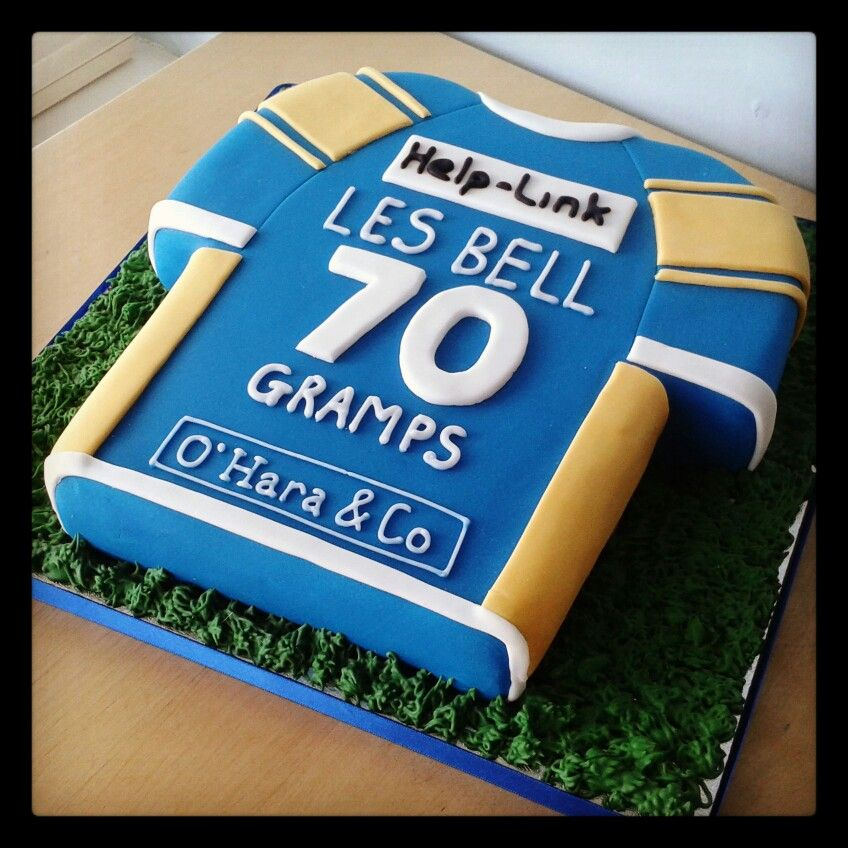 Leeds Rhinos shirt 70th birthday cake by Gingerbread Lane