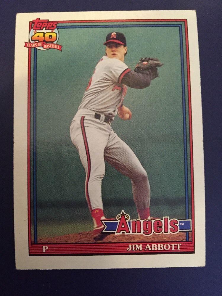 Topps 1991 Jim Abbott Card 285 Mint Cards, Baseball