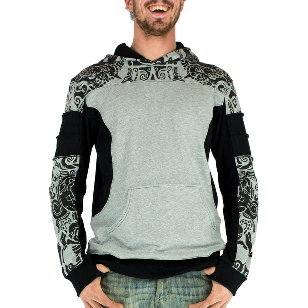 GG-JUPITER MAIA sweat homme à capuche, imprimé tribaux, pull leger gris et  noir, tatouage Maori, festival trance, motif tribal psychédélique
