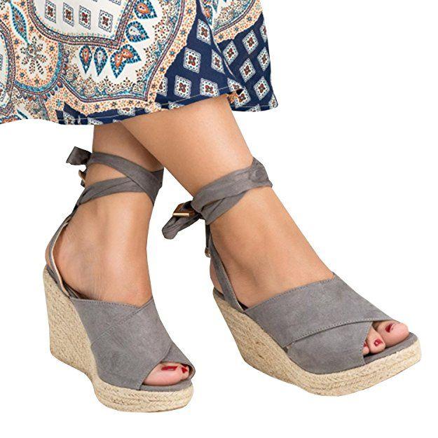 ed57651fcddc 40.99  Syktkmx Womens Lace up Platform Wedge Espadrille Heel Peep Toe  Slingback D Orsay