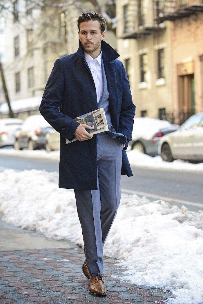 Pièces Gilet En Avec Bleu Manteau 3 Pour Homme Costume Look Long Gris Homme Foncé XCwqYCx0