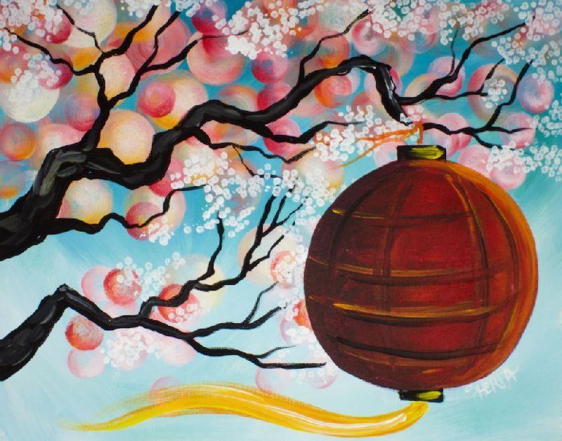 16 Easy Acrylic Paintings You Can Do With Cotton Swabs Q Tip Cotton Swab Cherry Blossom Tree Branch W Acrylic Painting For Beginners The Art Sherpa Painting