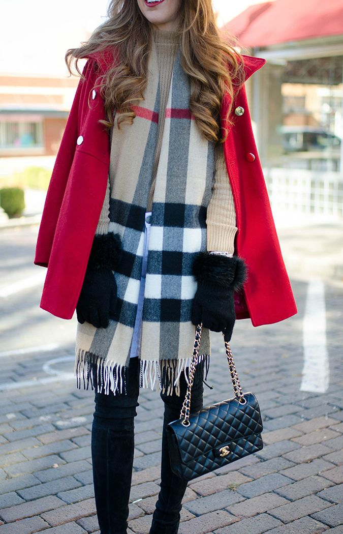 burberry-scarf-with-red-coat   Tara Gibson Style   Burberry scarf ... 9d3399d599d