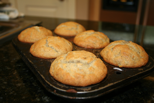Banana Muffins  1 cup sugar  1 1/3 cups very ripe mashed bananas  1/2 cup butter, softened  2 eggs  1 tsp vanilla    1 2/3 cups white rice flour  1/3 cup cornstarch  1 tsp baking powder  1 tsp baking soda  1/2 tsp salt  1/2 tsp xanthan gum  Preheat oven to 350 a