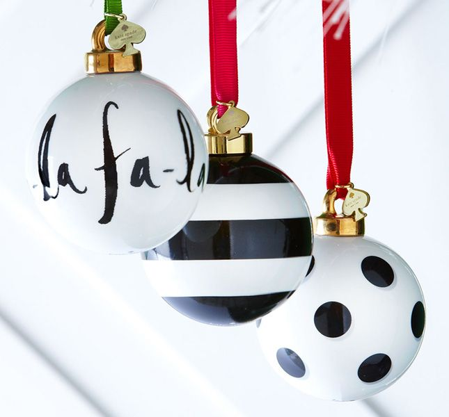 Hang classic black and white ornaments from your tree.