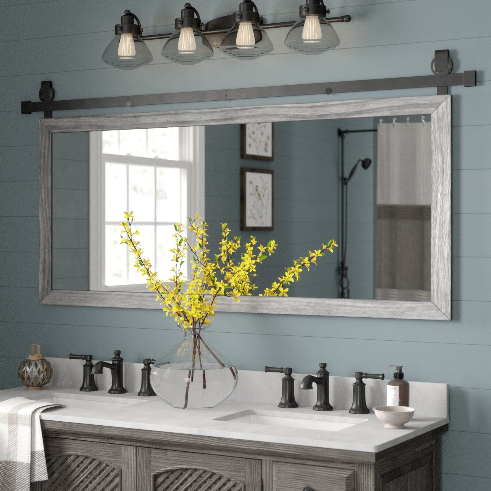 Gracie Oaks Nicholle Bathroom Vanity Mirror Wayfair Country