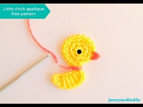 crochet little duck or chicken applique free pattern ✿Teresa Restegui http://www.pinterest.com/teretegui/✿