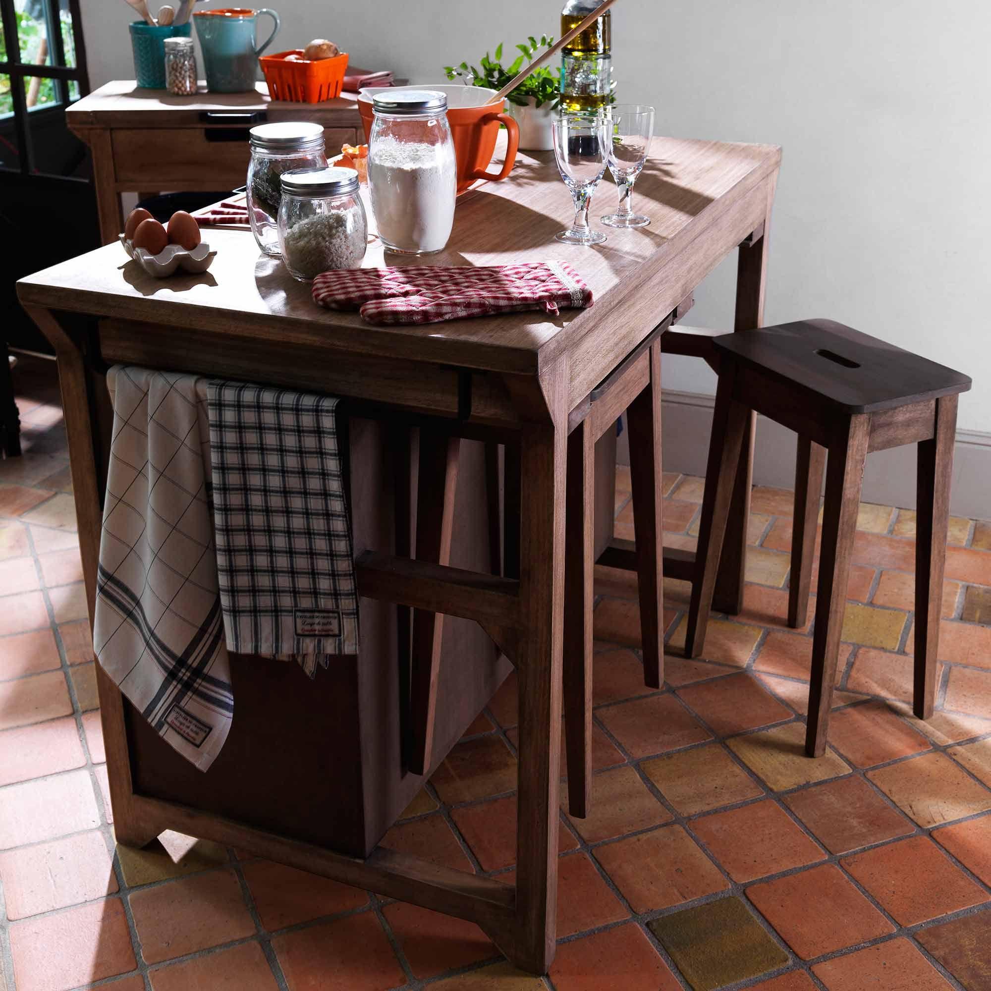 Buffet De Cuisine En Bois Avec Ses 2 Tabourets Et Rangements La Grande Halle Comptoir De Famille