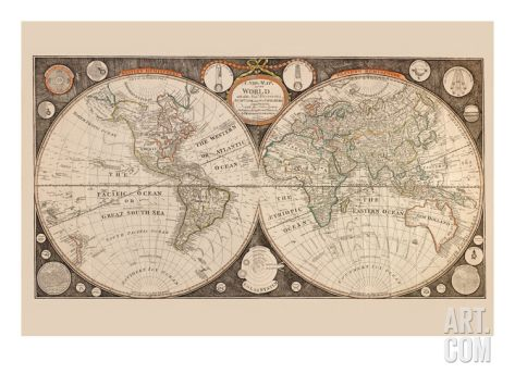 A New Map of the World  with All the New Discoveries by Capt Cook - new antique world map images