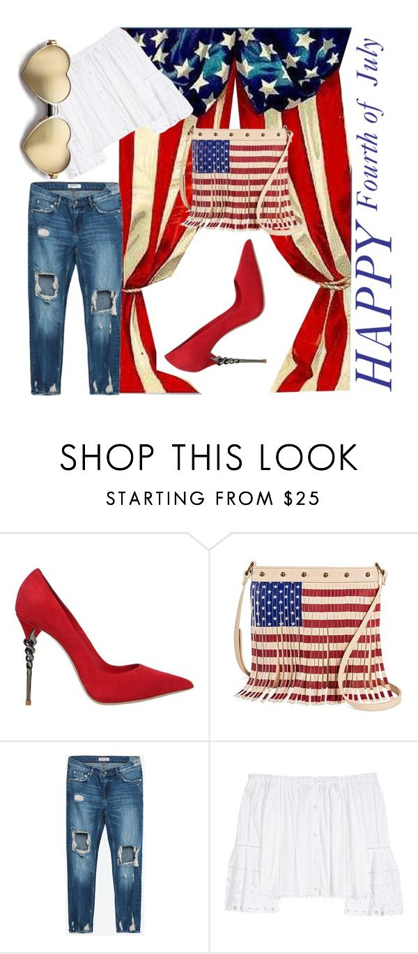 """""""How to wear red, white and blue"""" by obsessedaboutstyle ❤ liked on Polyvore featuring Le Silla, TWIG & ARROW, Carolina Herrera and Wildfox"""