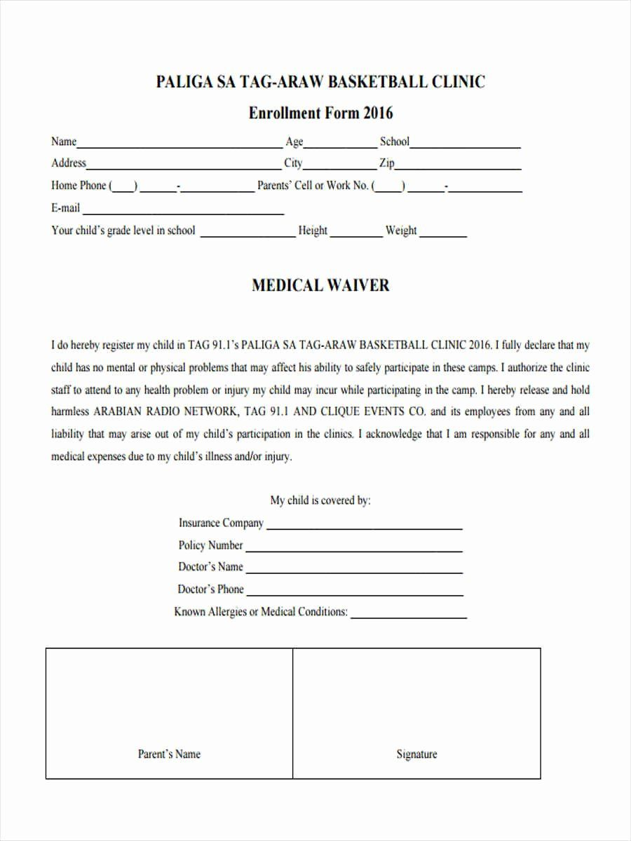 Waiver Form Template For Sports Fresh Free 6 Basketball Waiver Forms In Samples Examples Formats Templates Basketball Clinics Form Waiver form template for sports