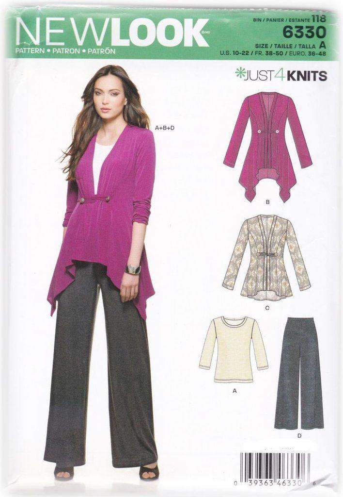 Women Draped Cardigan Blouse Top Pants Sewing Pattern NewLook 6330 ...