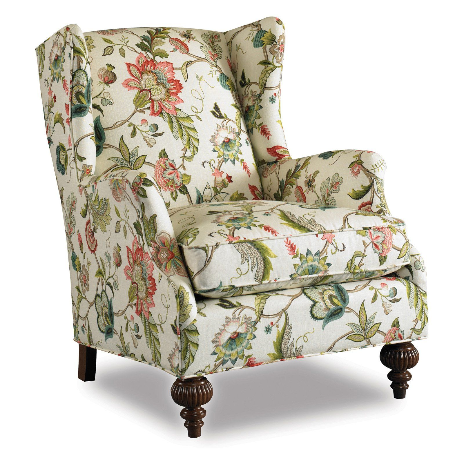 Floral Wingback Chair Botanical Print Upholstery Fabric Chair Abington