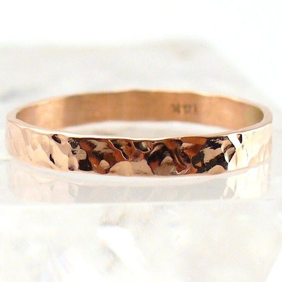hammered rose gold band