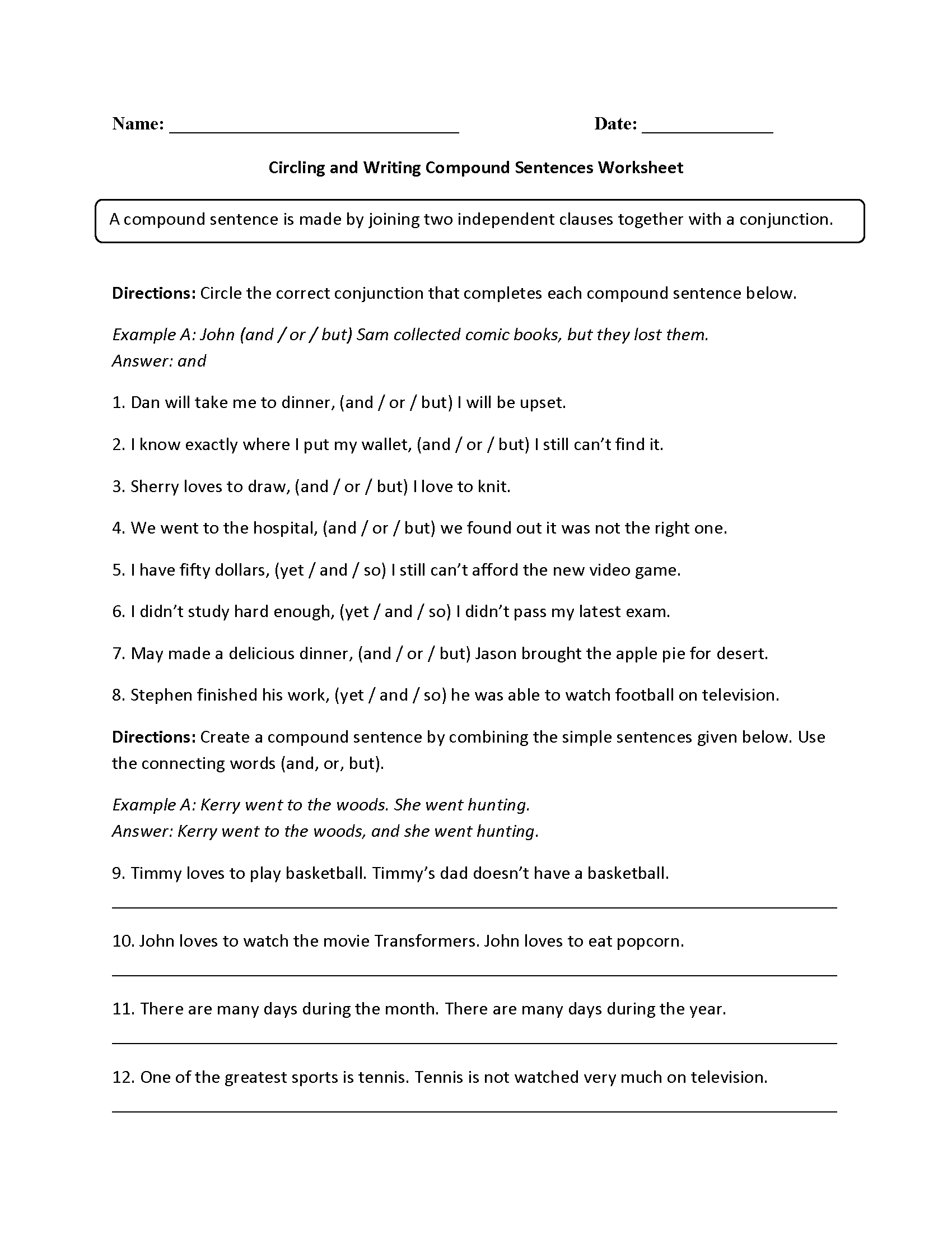 Circling And Writing Compound Sentences Worksheet