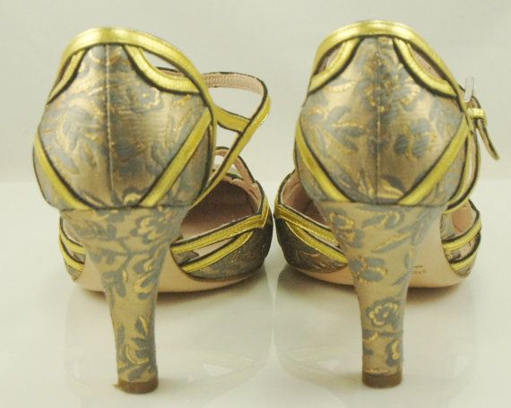 Women's Prada Shoes Gray & Gold Brocade by specialdetails on Etsy