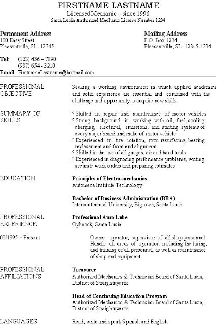 Basic resume, this one is for an auto mechanic and small business - vehicle repair sample resume