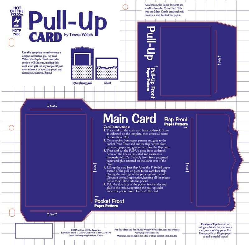 Pull Up Card Template By Hot Off The Press Inc 4107430 Pop Up Card Templates Homemade Card Designs Card Making Supplies