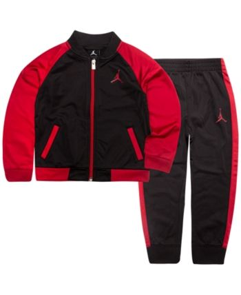 NEW Boys 2 piece Set Size 2T Hooded Zip Jacket Pants Outfit Red Black Football