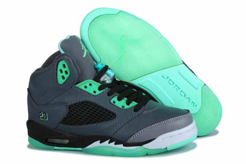 Air jordan 5 mens retro grey black new green